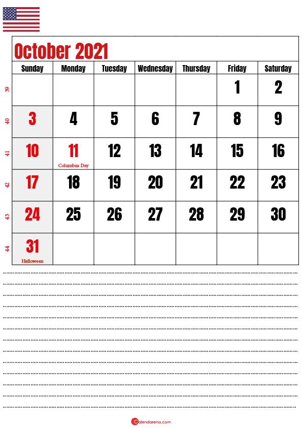 october 2021 calendar printable usa