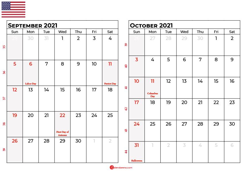 september and october 2021 calendar usa