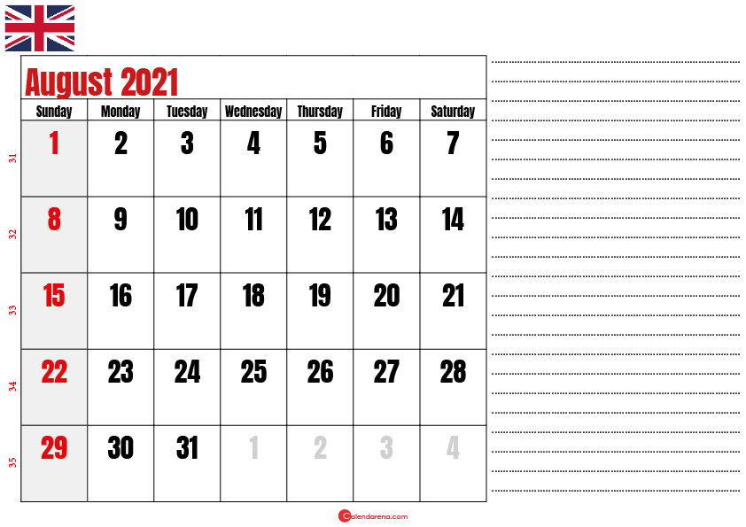 2021 august calendar notes UK