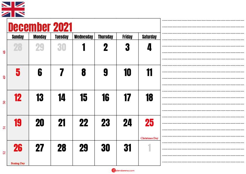 2021 december calendar notes UK