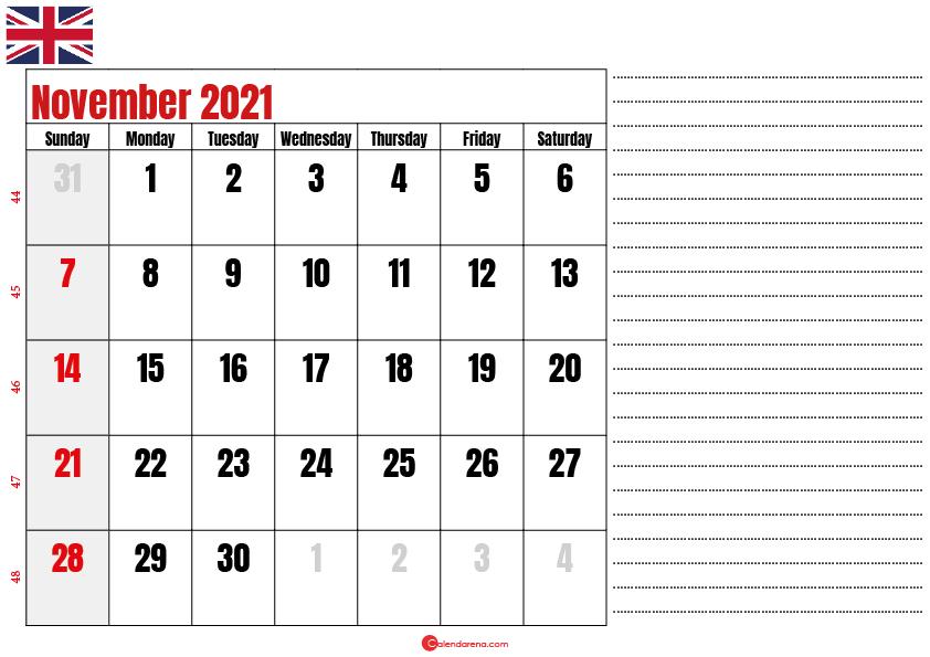 2021 november calendar notes UK