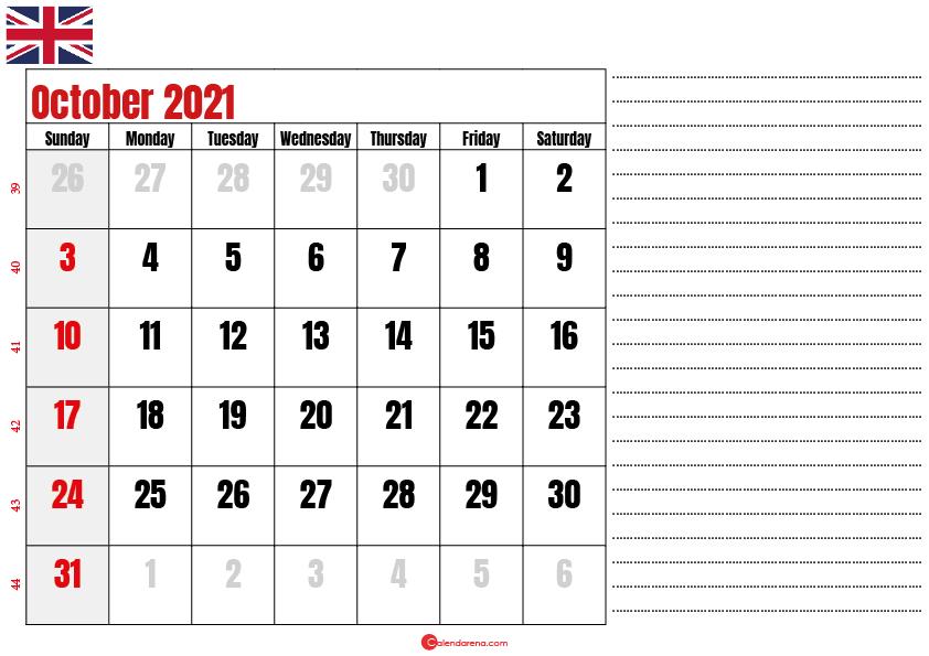 2021 october calendar notes UK