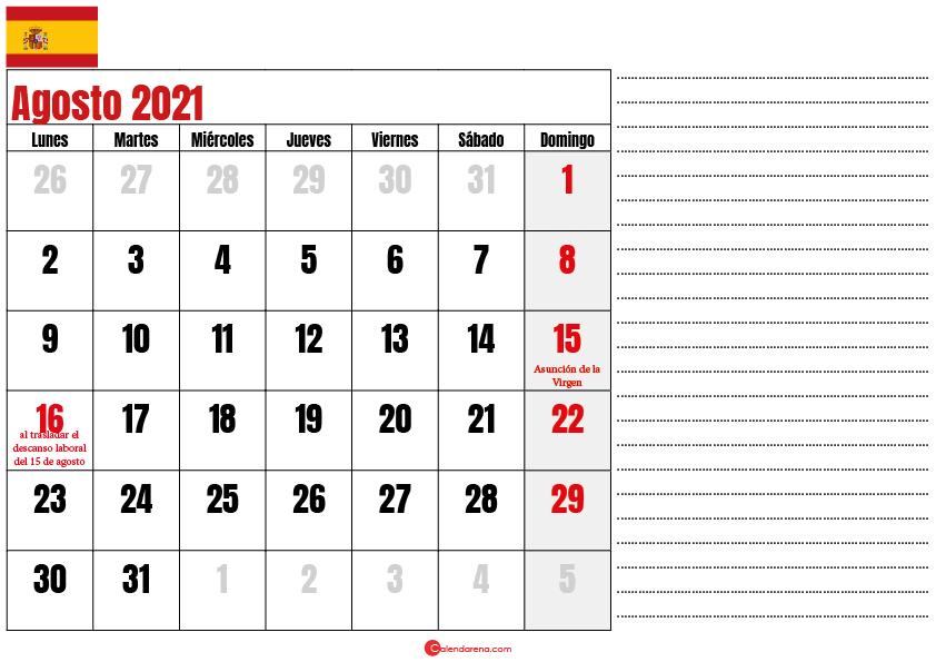 Agosto 2021 calendario espana
