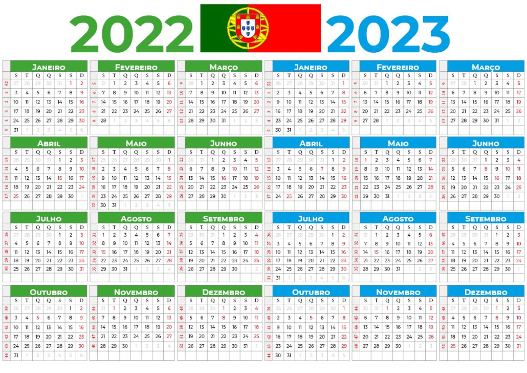 Calendário 2022-2023 do portugal