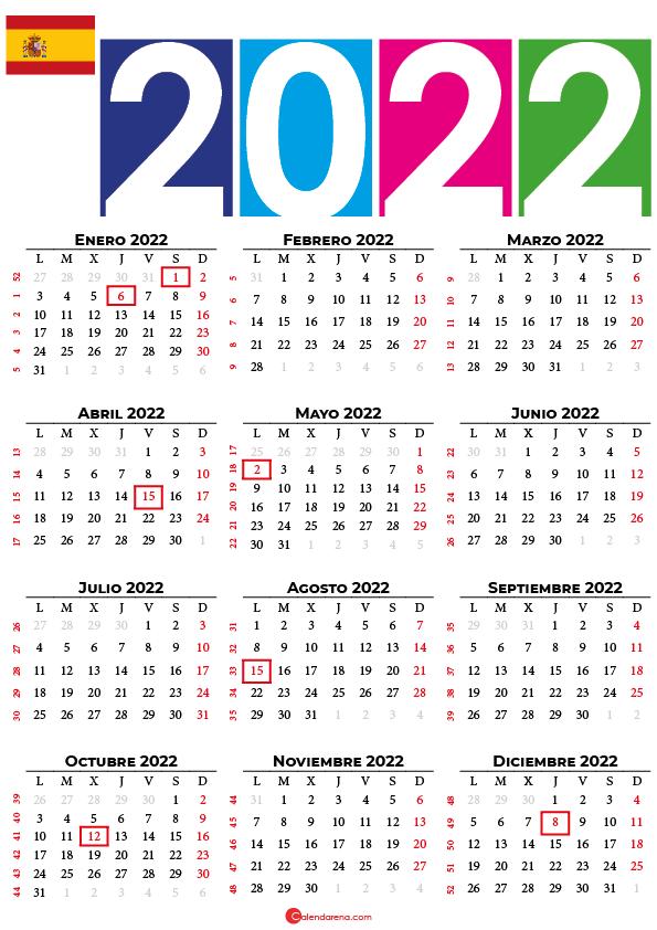 Calendario 2022 con días festivos