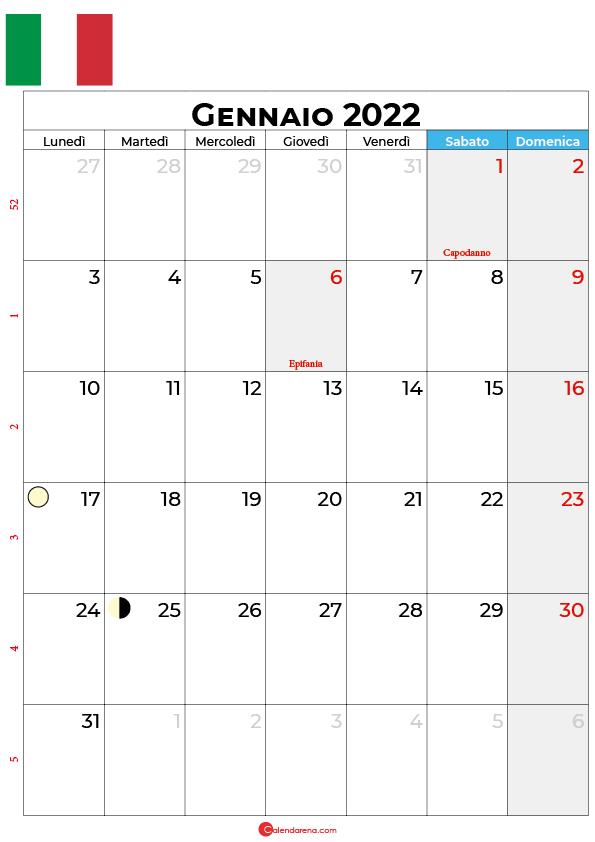 Calendario 2022 gennaio