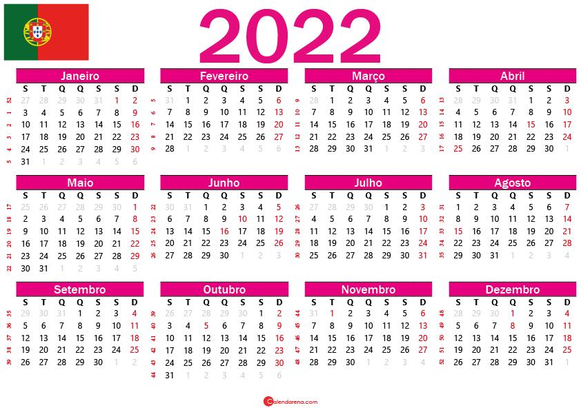 Calendário 2022 para imprimir portugal