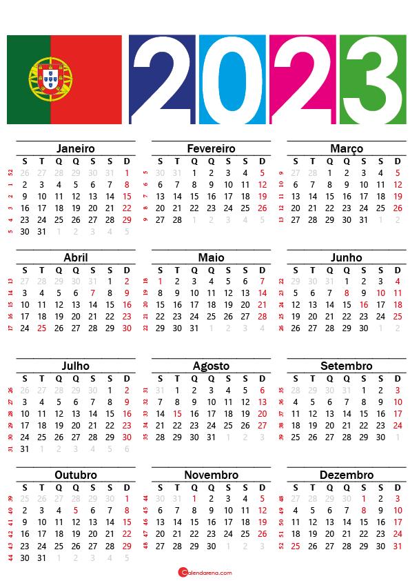 Calendário 2023 com feriados do Portugal