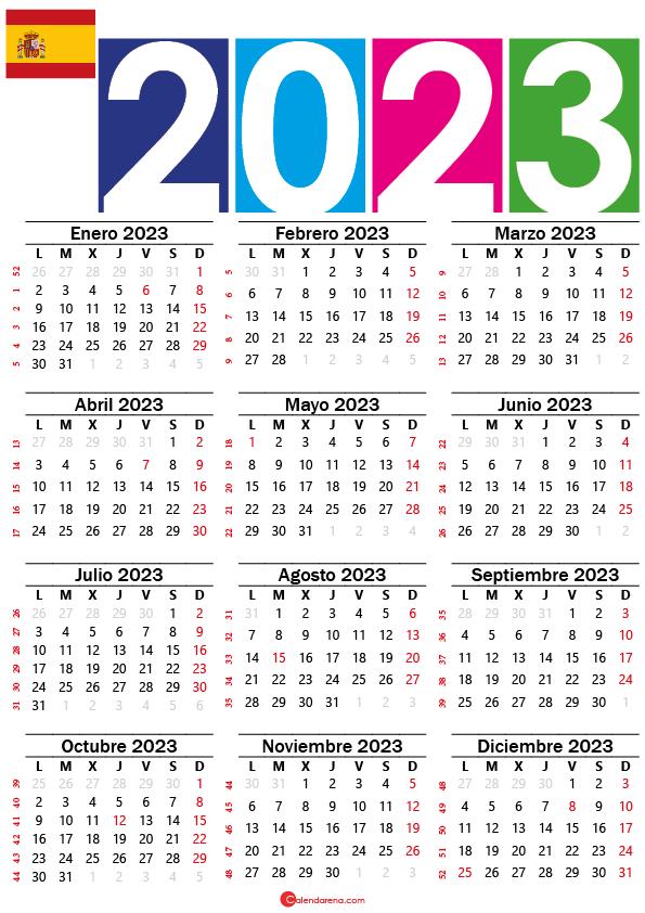 Calendario 2023 con días festivos