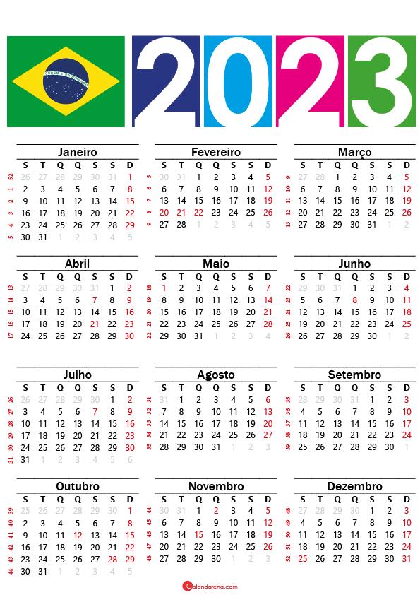 Calendário 2023 do brasil con festivos