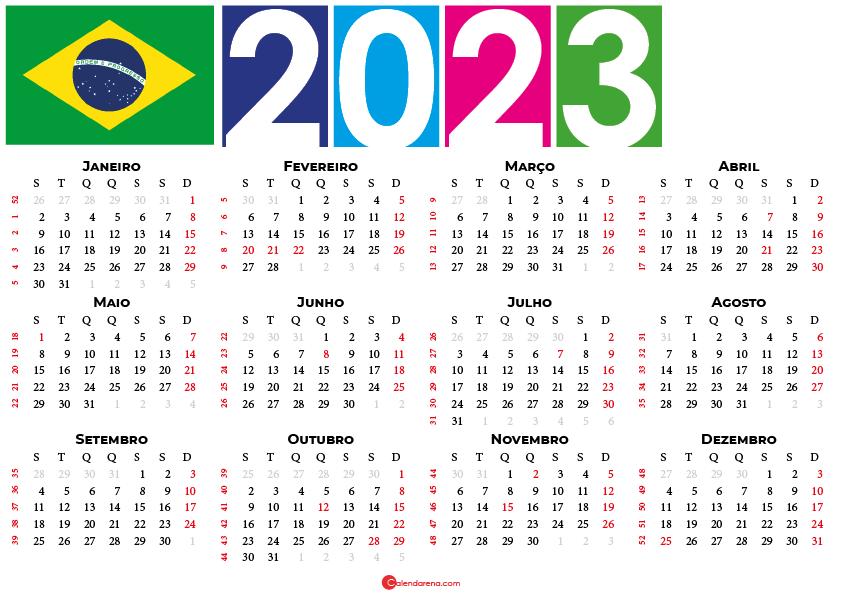 Calendário 2023 do brasil