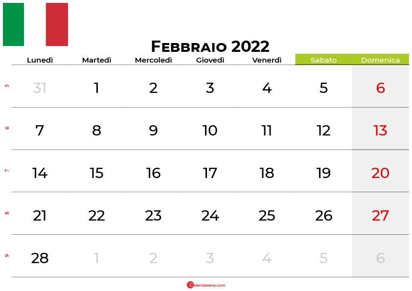 Calendario Febbraio 2022