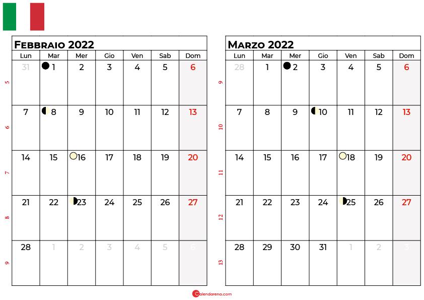 Calendario Febbraio marzo 2022