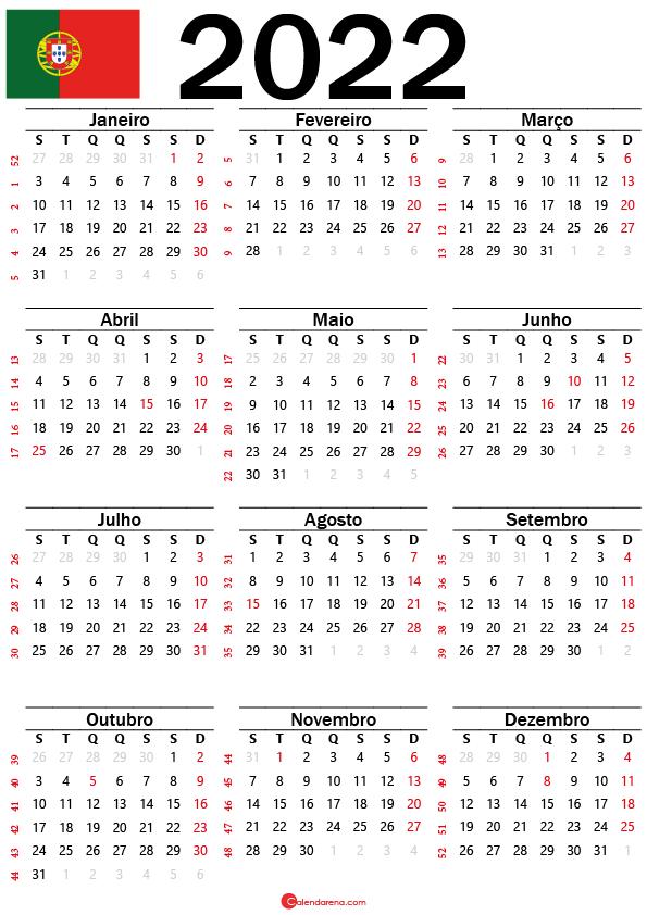 Calendário de Portugal 2022 com feriados