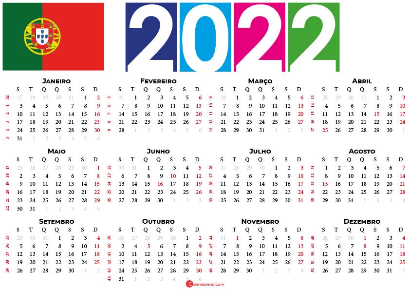 Calendário de Portugal 2022