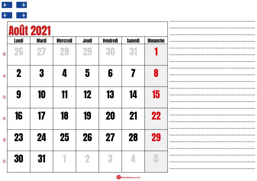 Calendrier aout 2021 Québec imprimable