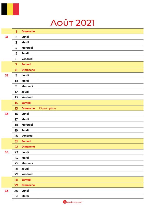 Calendrier aout 2021 belgique imprimable