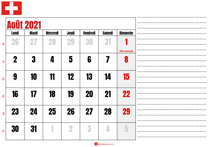 Calendrier aout 2021 suisse imprimable