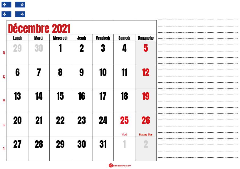 Calendrier décembre 2021 Québec imprimable