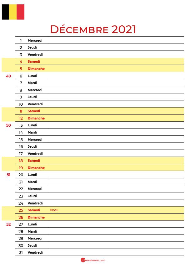 Calendrier decembre 2021 belgique imprimable