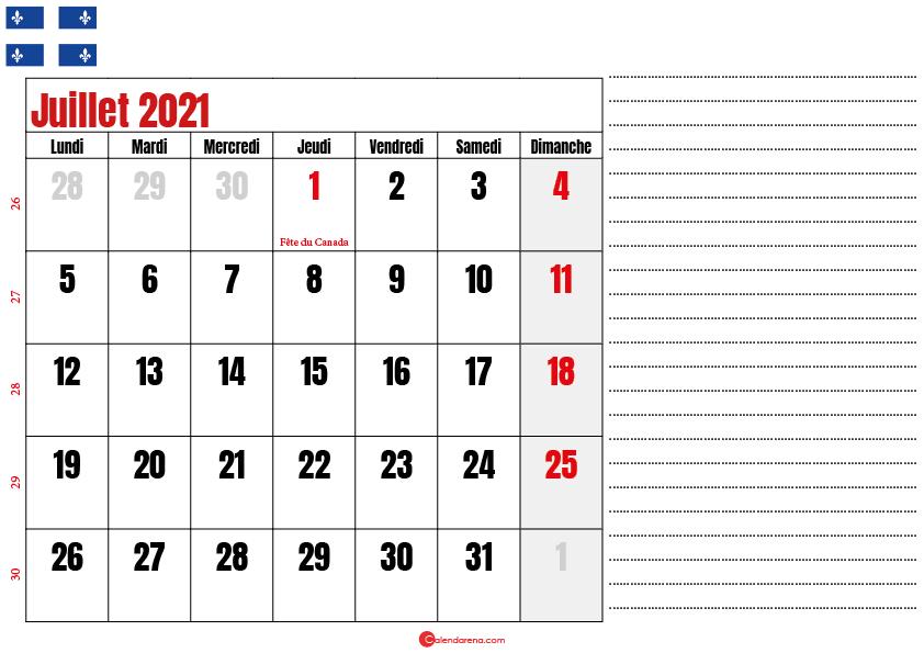Calendrier juillet 2021 Québec imprimable