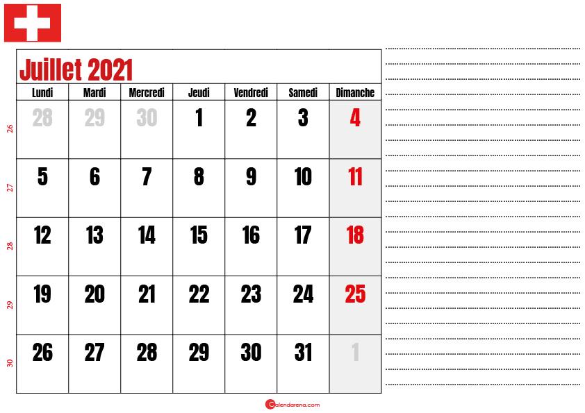 Calendrier juillet 2021 suisse imprimable