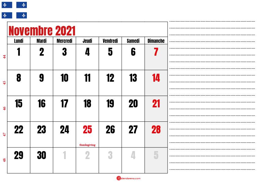 Calendrier novembre 2021 Québec imprimable