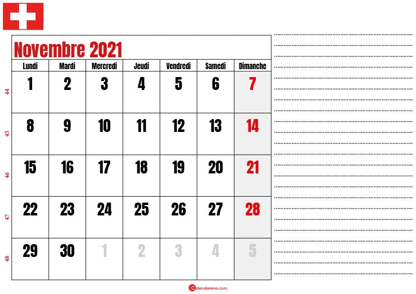 Calendrier novembre 2021 suisse imprimable