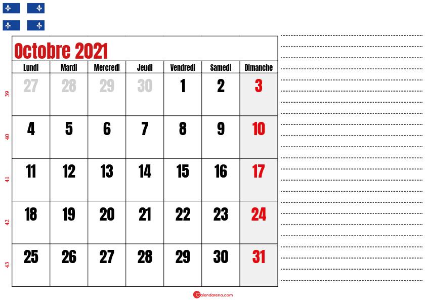 Calendrier octobre 2021 Québec imprimable