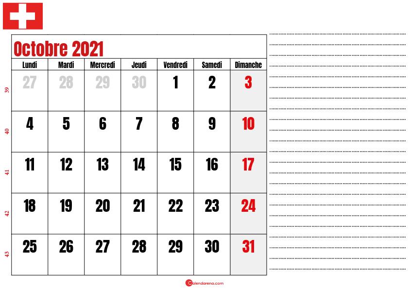 Calendrier octobre 2021 suisse imprimable