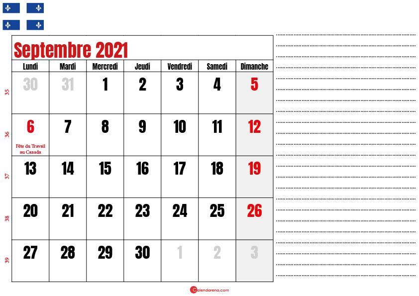 Calendrier septembre 2021 Québec imprimable