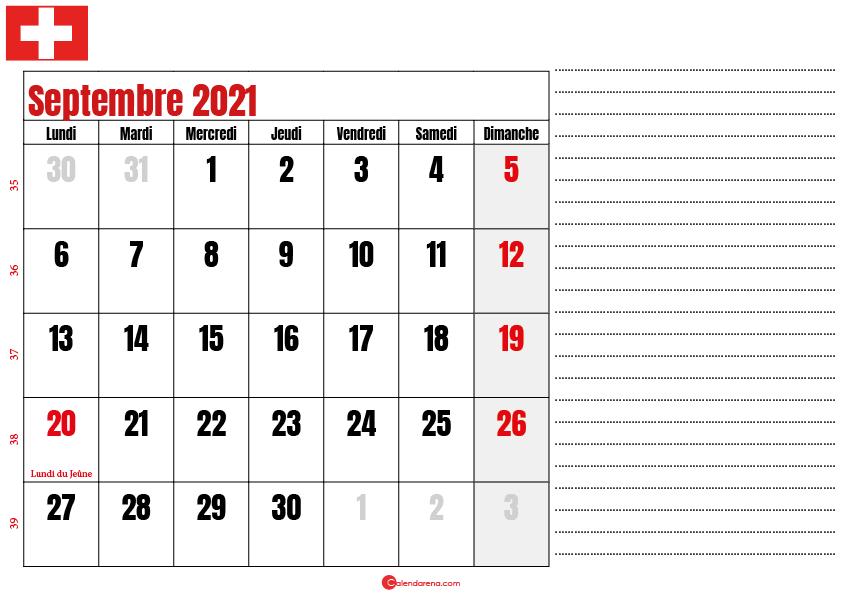 Calendrier septembre 2021 suisse imprimable