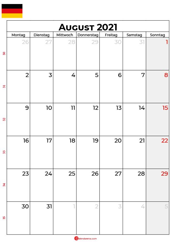 Deutschland august 2021 kalender