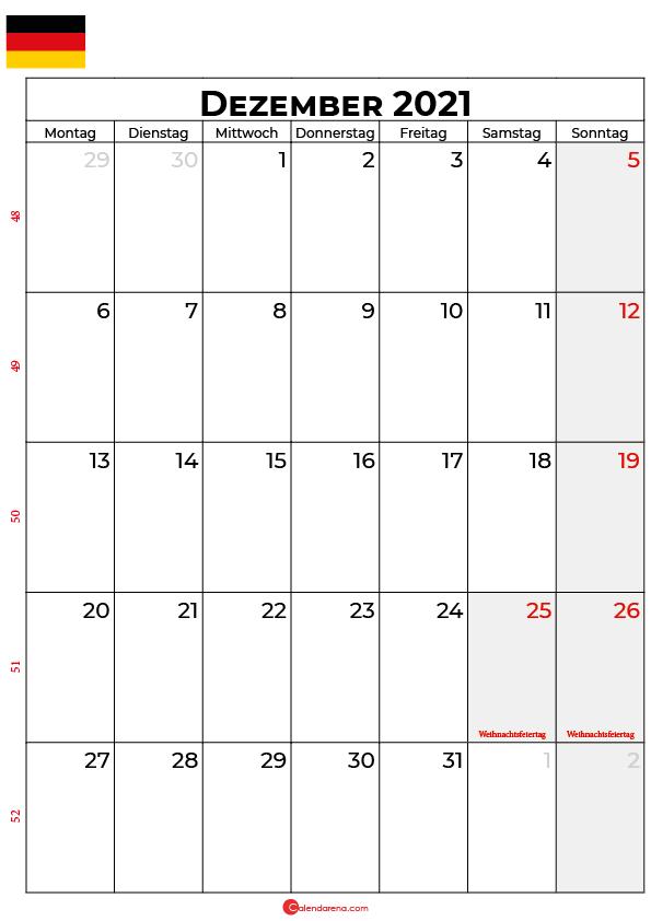Deutschland dezember 2021 kalender
