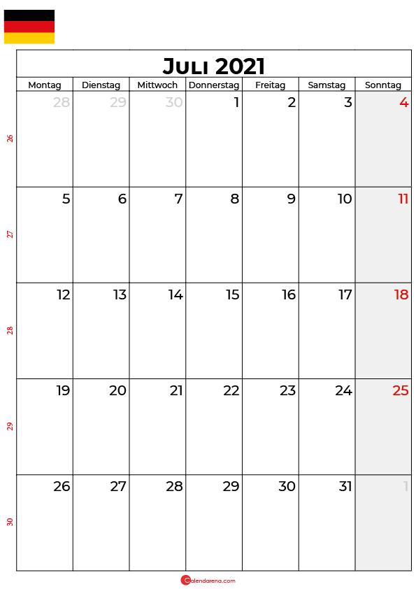 Deutschland juli 2021 kalender