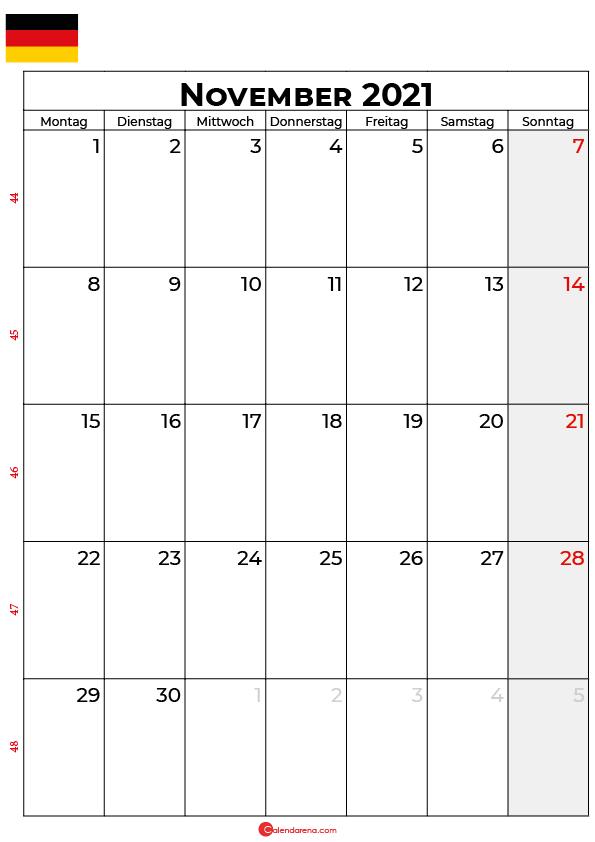 Deutschland november 2021 kalender