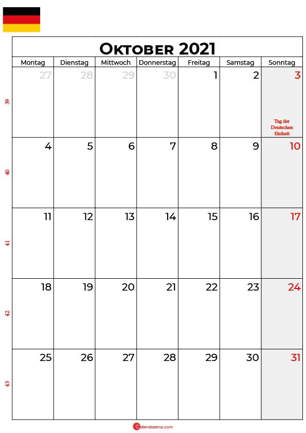 Deutschland oktober 2021 kalender