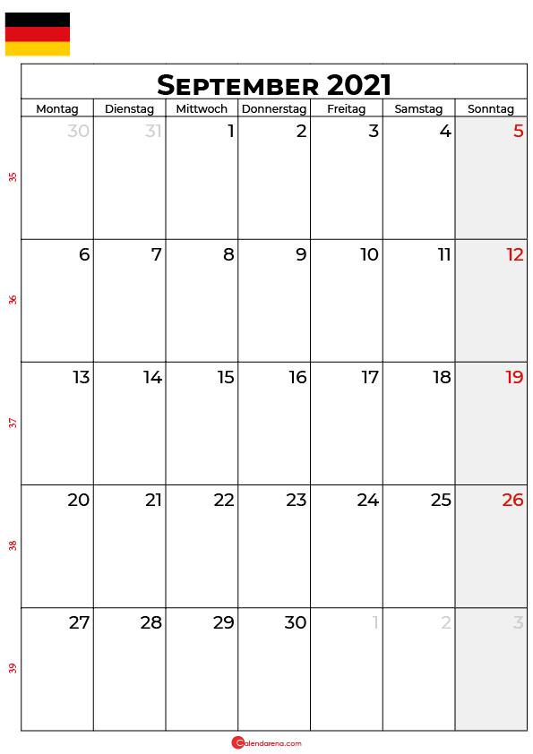 Deutschland september 2021 kalender