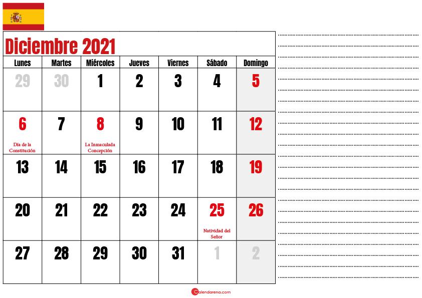 Diciembre 2021 calendario espana