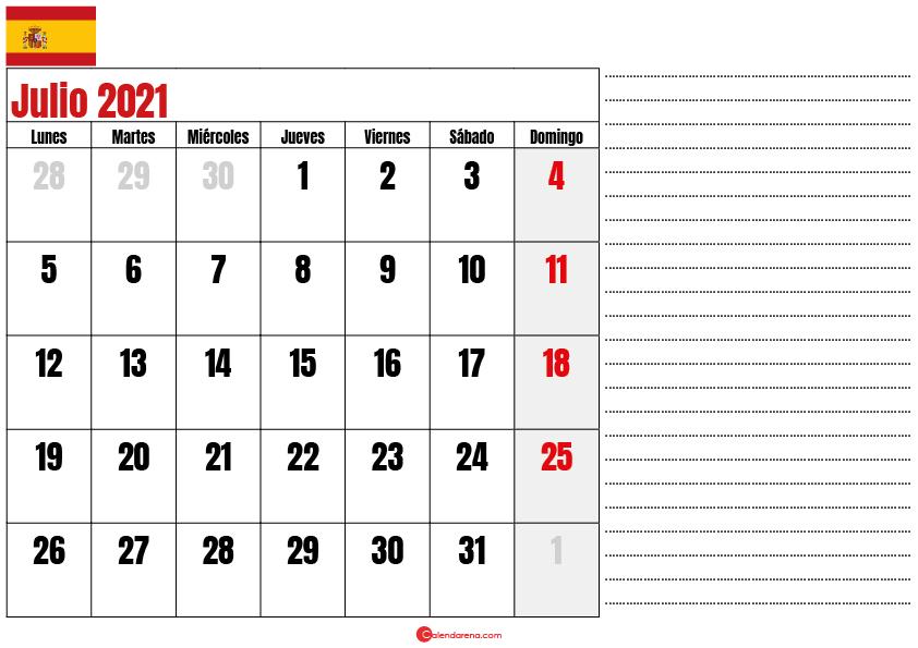 Julio 2021 calendario espana