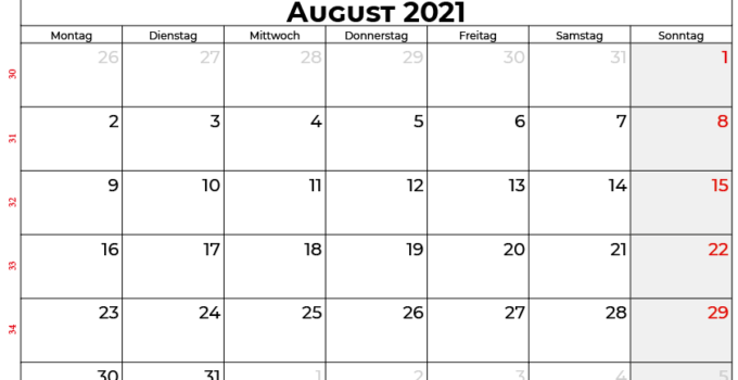 Kalender august 2021 Deutschland