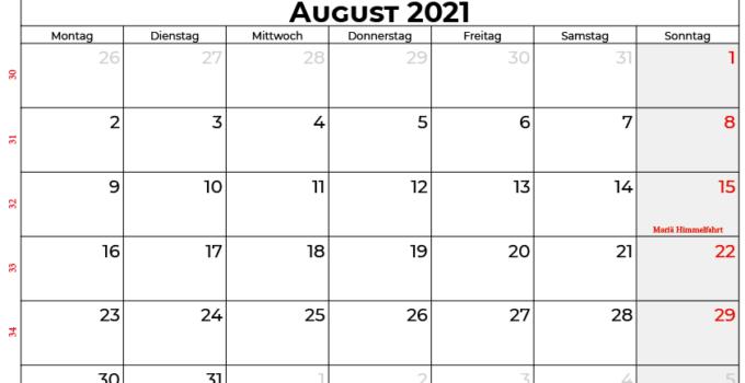 Kalender august 2021 Österreich
