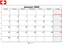 Kalender august 2021 Schweiz