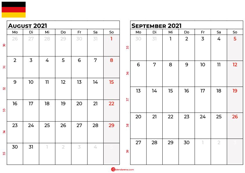 Kalender august september 2021 Deutschland