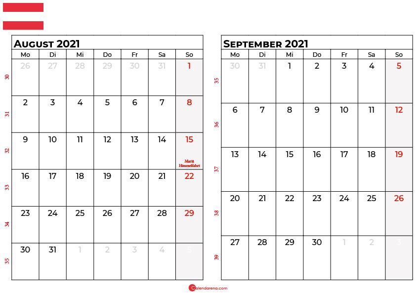 Kalender august september 2021 Österreich