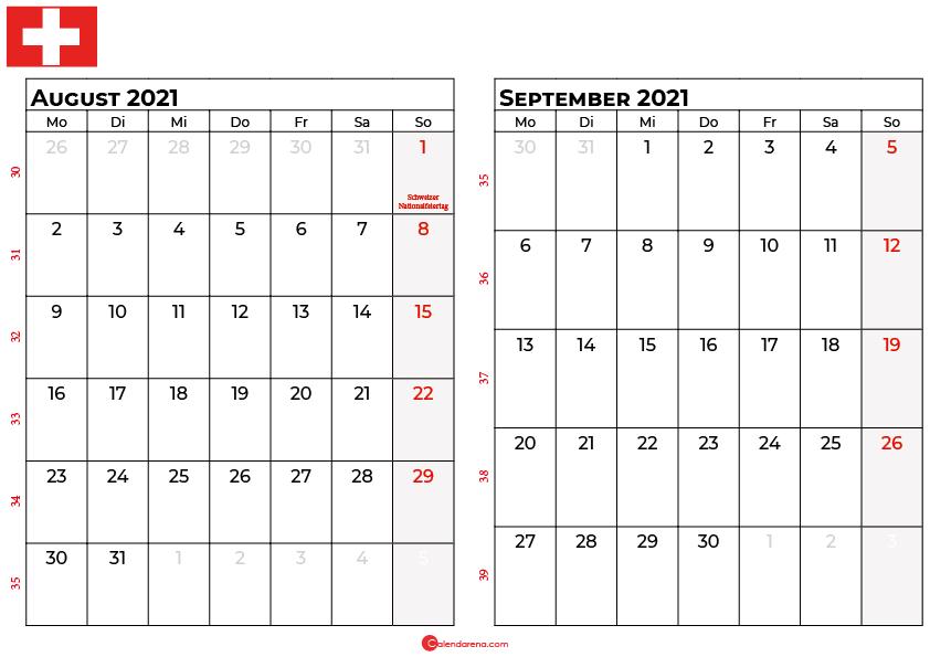Kalender august september 2021 Schweiz
