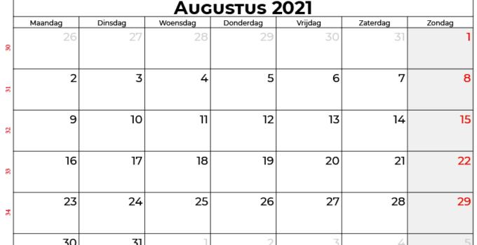Kalender augustus 2021 nl