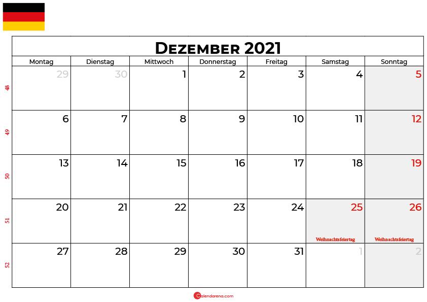 Kalender dezember 2021 Deutschland