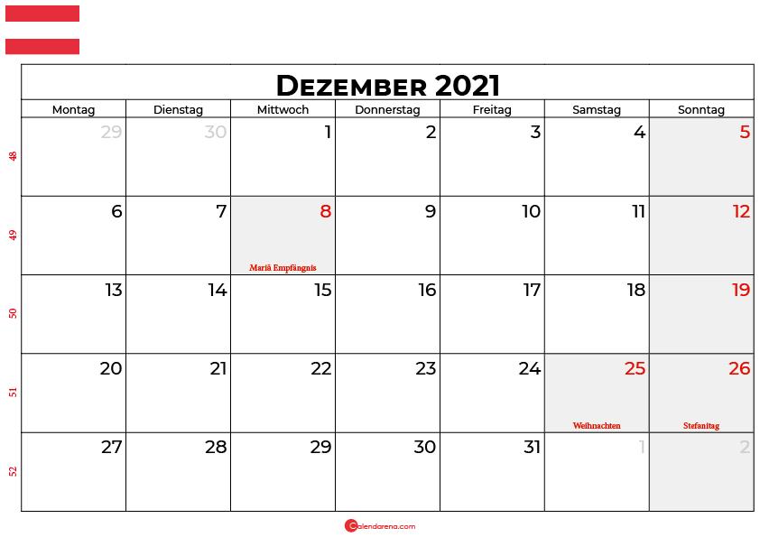 Kalender dezember 2021 Österreich