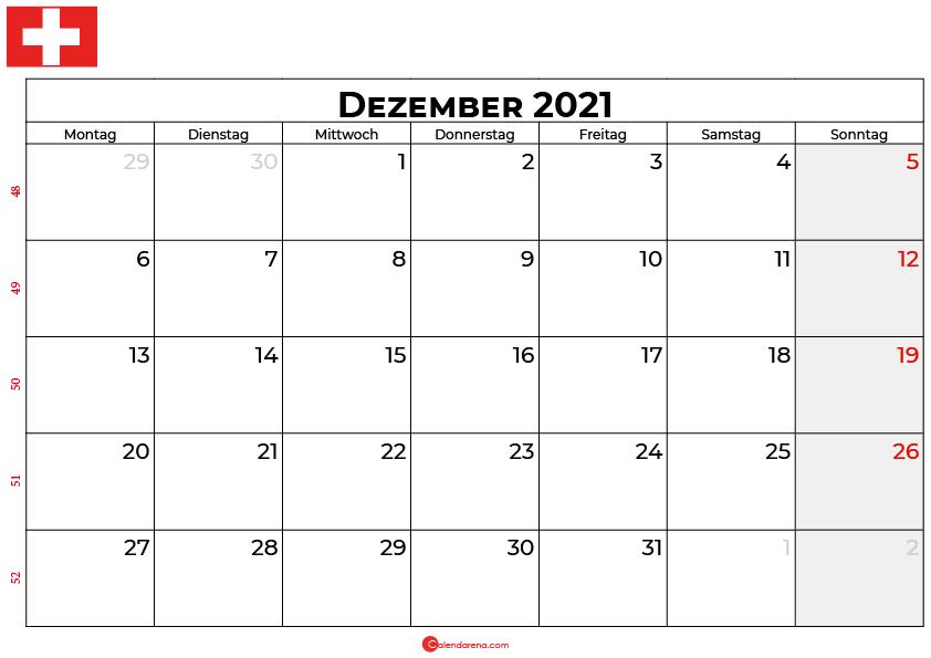 Kalender dezember 2021 Schweiz